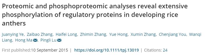 TJB2015-揭示水稻花药发育过程中调控蛋白的广泛磷酸化